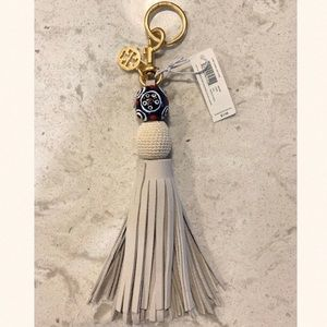 Tory Burch Orb Tassel bag charm key chain white